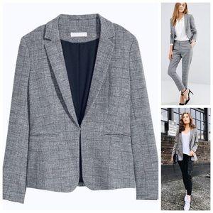 🌸 Woven Glen Plaid Fitted Gray & Black Blazer H&M